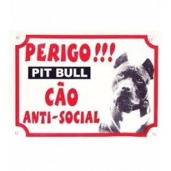 Placa Cão Pit Bull Anti Social Pet Smart G